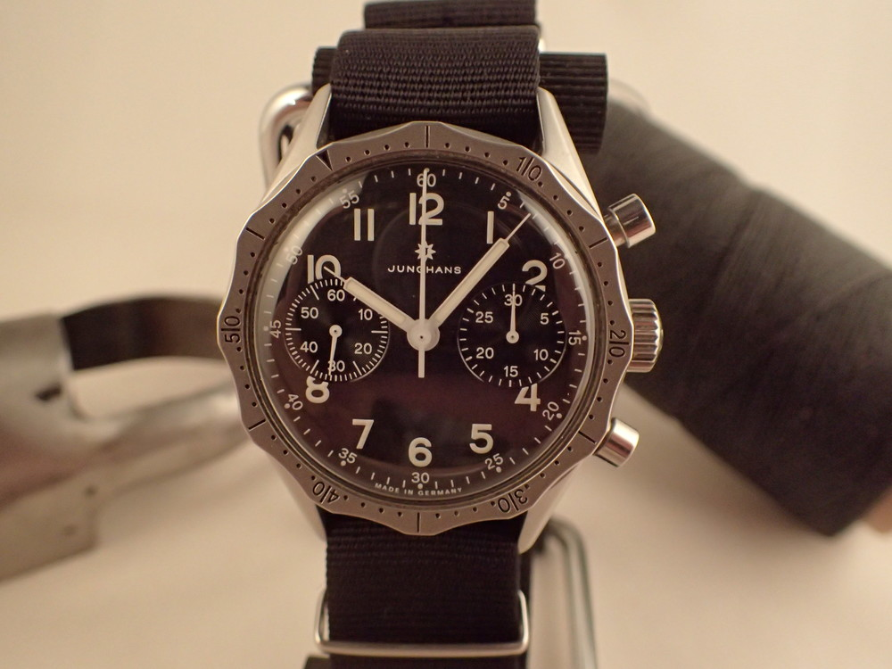 Junghans ref 27/3850, the Flieger Chronograph 1955 LE.  Apologies for bezel placement. ;-)