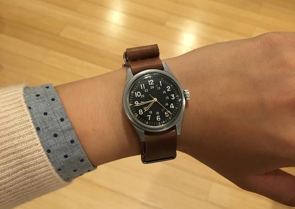 Benrus MIL-W-3818B on a Cognac MIL strap. A classic military watch finds a new life as an awesome time-telling accessory.