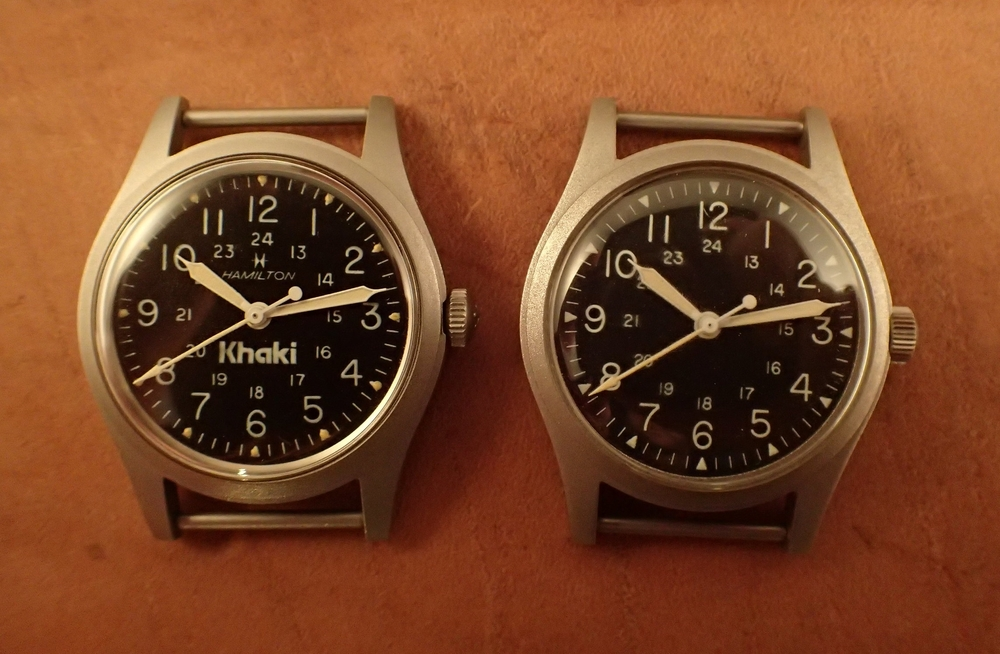 "The ""GG-W-113A"" 9219 and actual GG-W-113 watches together.  Note the different crowns; otherwise these two are identical."