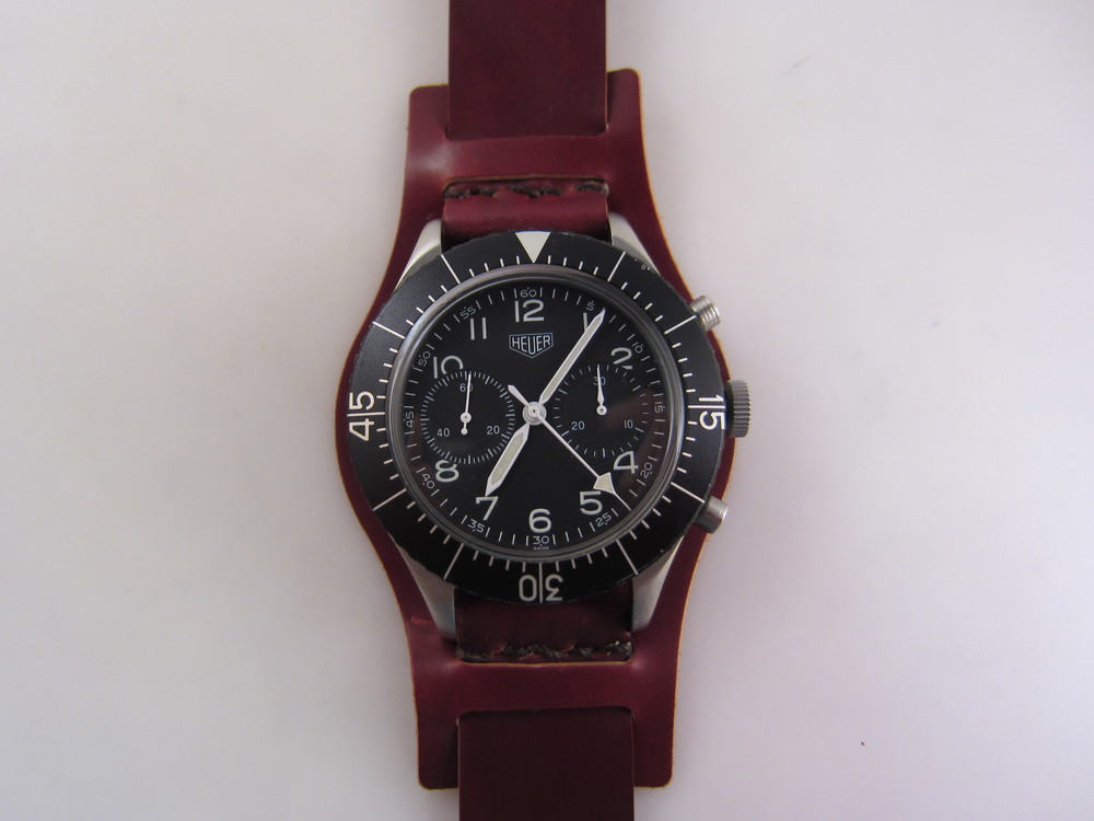 My original Heuer Bund, seen here on a Horween Color No. 2 Bund strap I made for it.