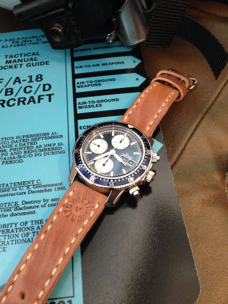 A fantastically beautiful Sinn 103 LE with blue dial and bezel on a Natural Arts & Crafts.  USMC pilots have great taste!