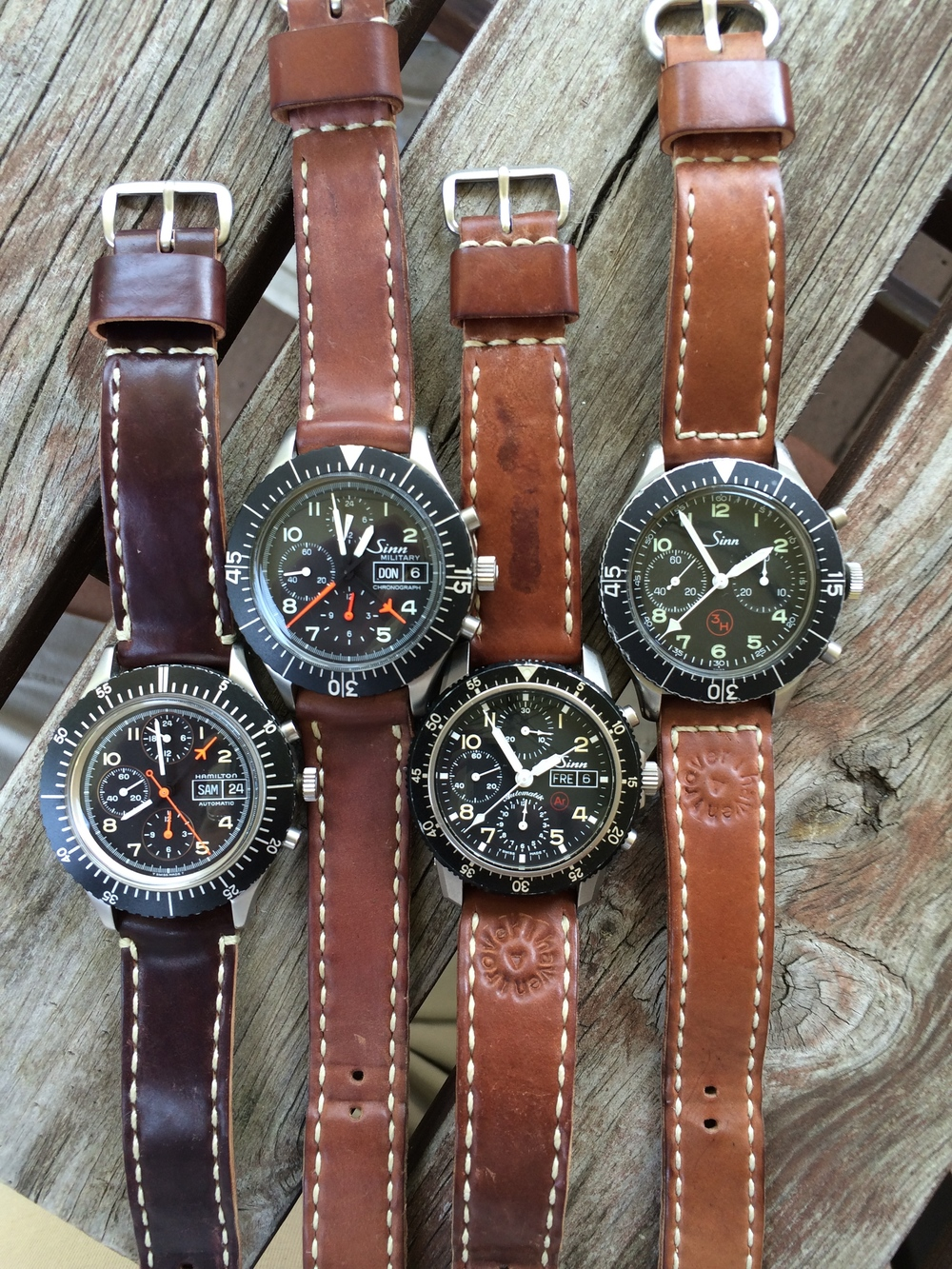 The Hamilton 156/Bund-alike, Sinn 156, Sinn 103 Ti Ar, and Heuer/Sinn 1550 SG.  A great set.