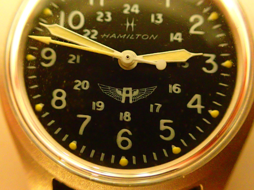 A close-up of the Avirex winged A logo.  The blurriness of the dial numerals is not a shaky hand -- this is simply how these dials were printed and is more common than not on the 9219.