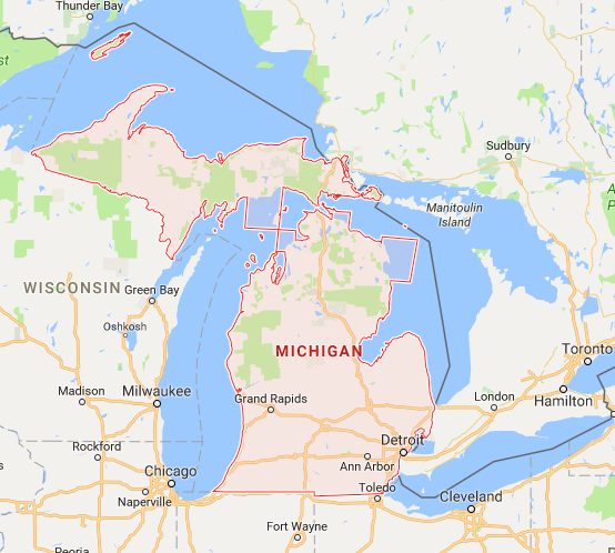 The great state of Michigan.  Image © Google Maps.