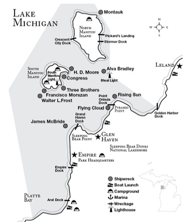 The Manitou Islands and the shipwrecks of Sleeping Bear Dunes.  Image  ©  michiganpreserves.org.