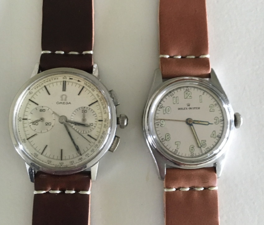 Two amazing family heirlooms, an Omega caliber 320 from 1963 and a Rolex from 1944, which saw use in the USAF at that time, both given new use with two-piece shell straps.  Incredible family treasures!