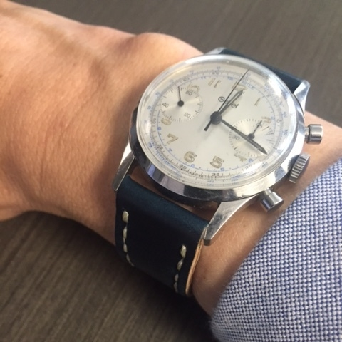 A gorgeous Gallet Multichron on Navy Arts & Crafts.  This watch is a Rover Haven favorite!