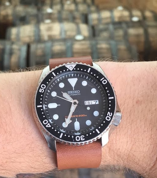 Seiko diver on a one-piece Natural strap at work in one of Michigan's finest breweries!