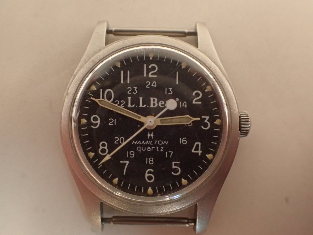 The Hamilton 9219 Quartz LL Bean Field Watch. Note the seconds hand's counter weight!