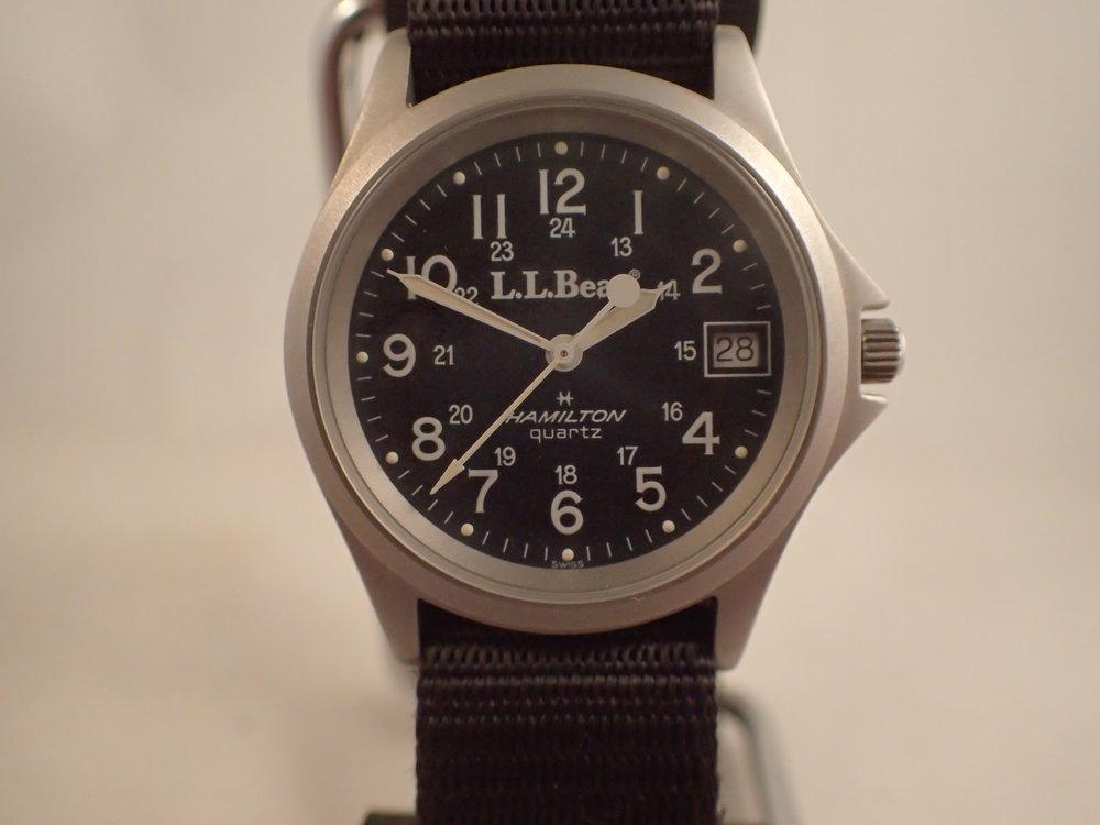 The Hamilton 9445 LL Bean Field Watch. Note the Swiss designation below 6.
