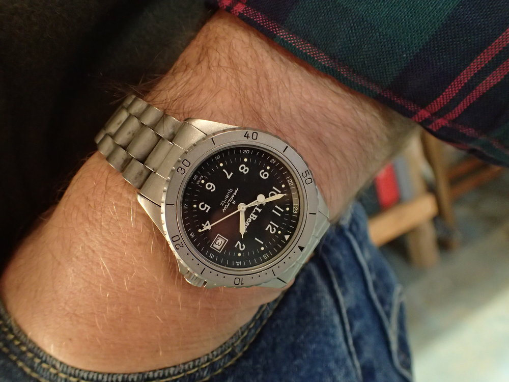 The Hamilton 9369 LL Bean Deluxe Field Watch, a timelessly handsome watch on the wrist. Also the only watch I keep on a bracelet.