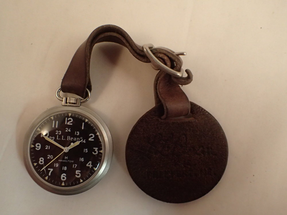 The Hamilton 9165 LL Bean Field Pocket Watch on original LL Bean-branded leather fob.
