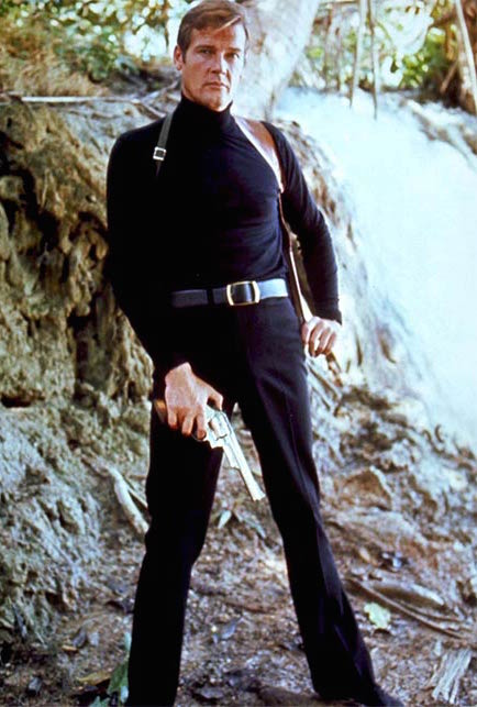 Roger Moore as 007.  Notice the hand cannon in place of the Walther PPK.  Like they were trying to compensate for something?