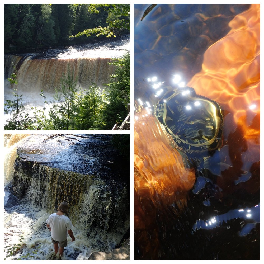 Clockwise from upper left: the Upper Tahquamenon Falls, the PO in the icy waters of the Tahquamenon River, exploring one of the many Lower Tahquamenon Falls.