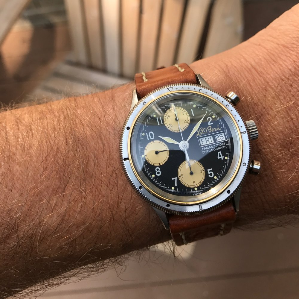 The Hamilton 9446 LL Bean Sportsman's Chronograph.  This watch is much nicer in person.