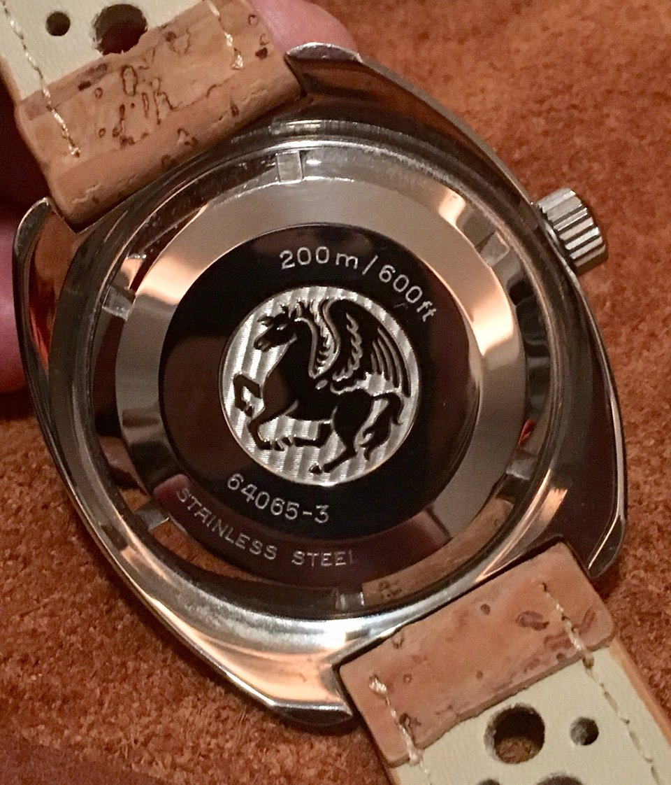 The caseback of the 64065-3 showing that famous symbol of seagoing life, the winged horse.  Image courtesy of franco60@WatchUSeek.