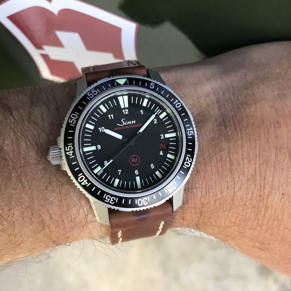 The EZM 3 wears great on my favorite strap, the Arts & Crafts in Horween's Natural shell cordovan. Obviously I disagree with those who think wearing a dive watch on leather is Just Plain Wrong.