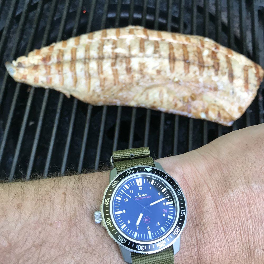 About 5 minutes per side, and this chinook salmon is grilled to perfection.