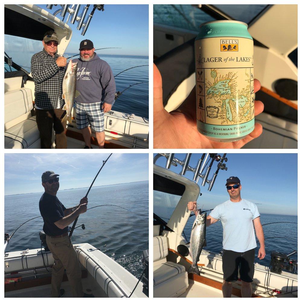 Salmon fishing success on Lake Michigan.