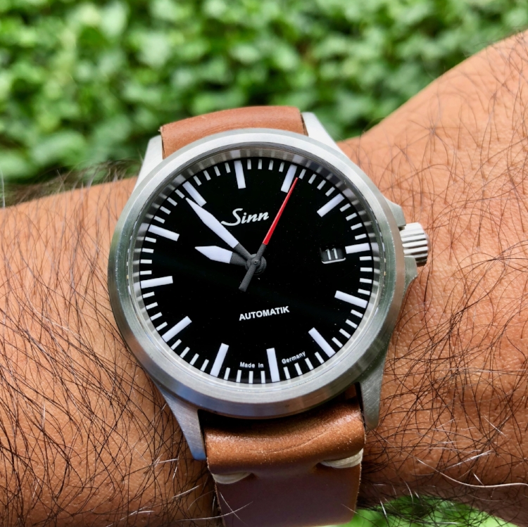 An outrageously cool Sinn 556 on Natural Two-Piece.