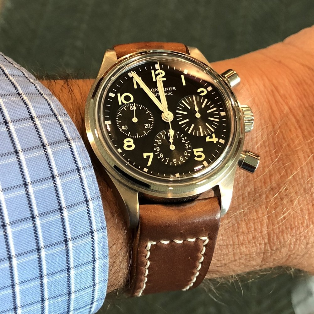 The Longines Avigation BigEye on an Arts & Crafts strap in Natural.