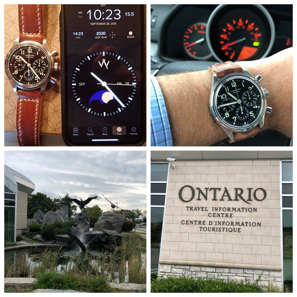Clockwise from upper left: The BigEye is hacked at the beginning of the trip; trip odometer zeroed and ready to roll; welcome to Canada.