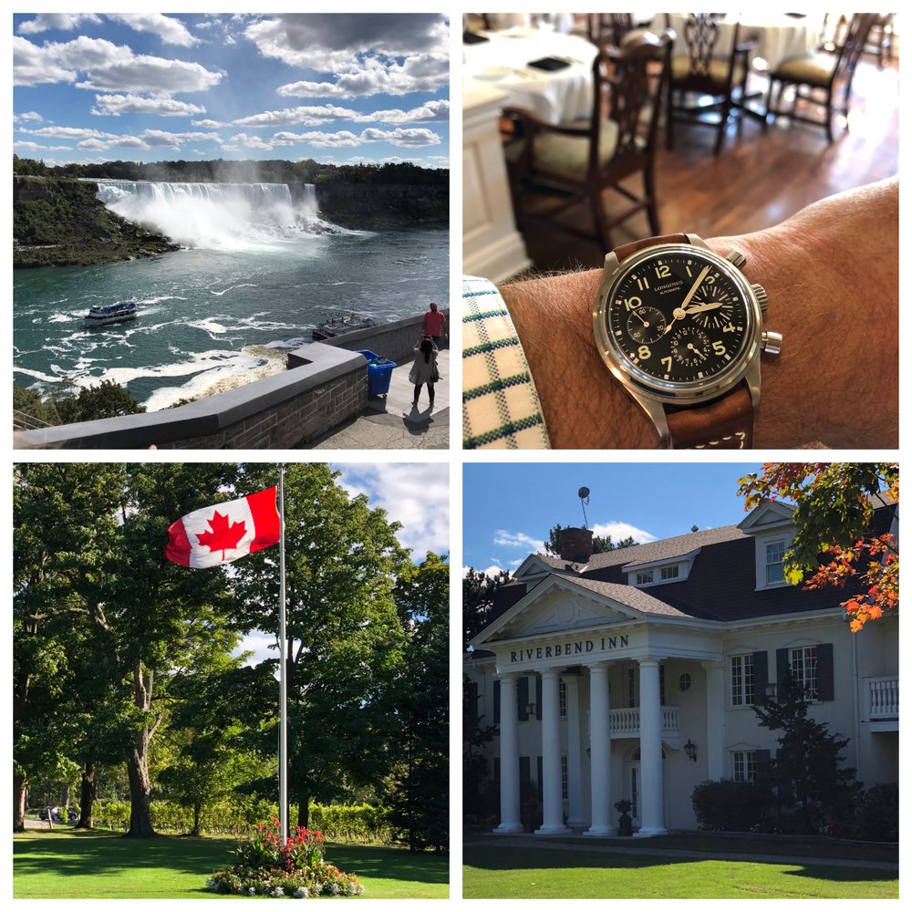Clockwise from upper left: Niagara Falls; the Riverbend Inn's dining room; the Riverbend Inn; the Maple Leaf. Could there be a more delightful day? No, there could not.