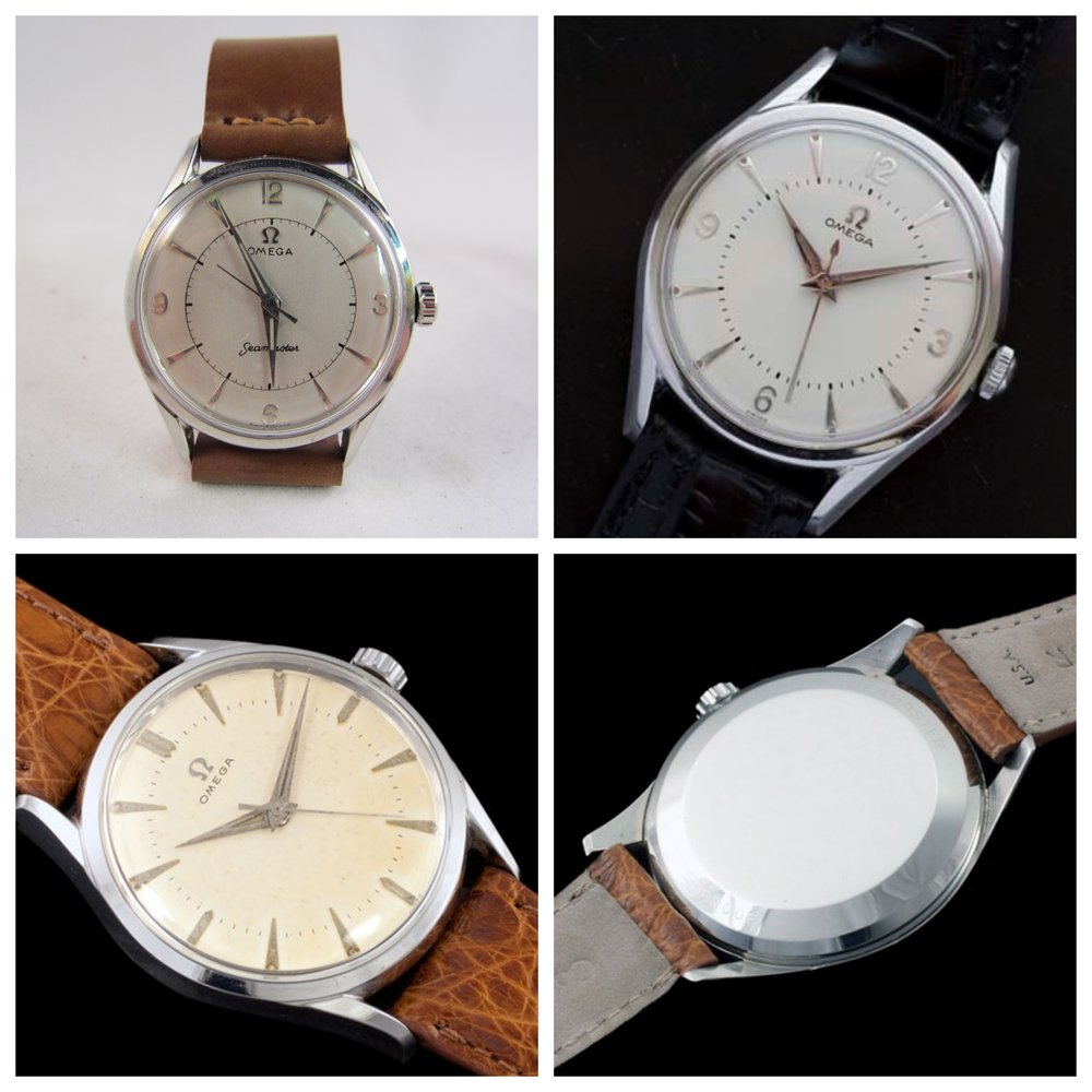 Clockwise from upper left: My Dad's Omega, a similarly dialed specimen, identical caseback markings on another specimen, which has yet another dial variant.