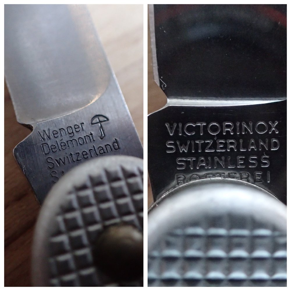 The maker's marks from both manufacturers eventually change, Wenger (L) in 1966 and Victorinox (R) in 1976.