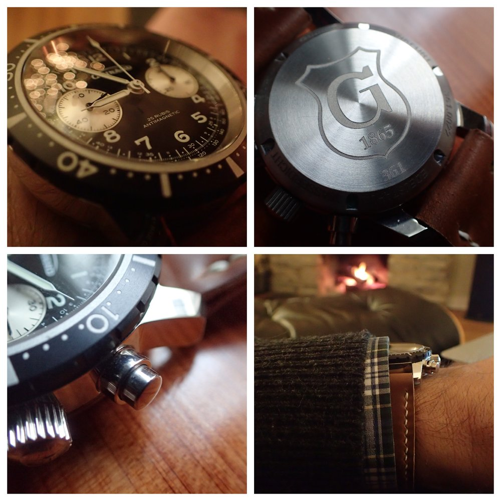 Clockwise from upper left: Christmas tree lights, the solid caseback, easy cuff fit, and collared pushers.