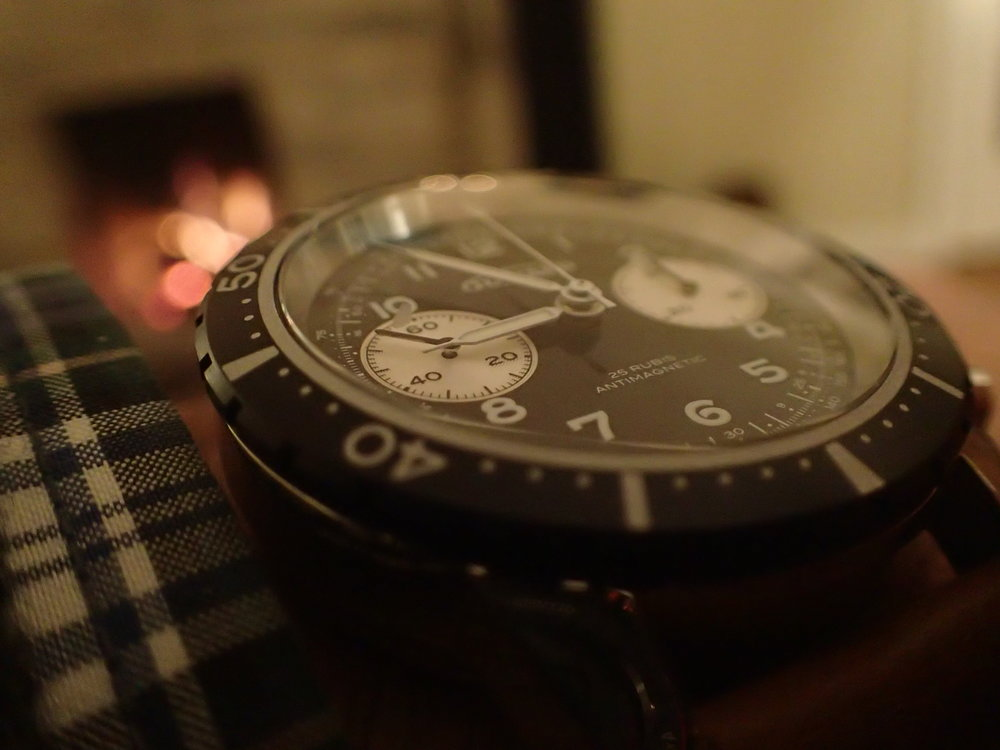 The Guinand Model 361. Note the vintage details such as the open 6, hooked 7, and simple, printed bezel.