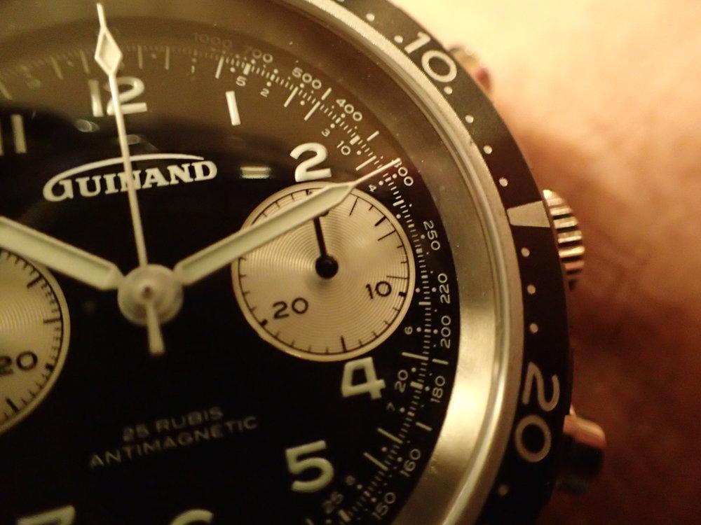 Mid-century design zeitgeist, the Model 361's minutes register includes 3-minute indices.