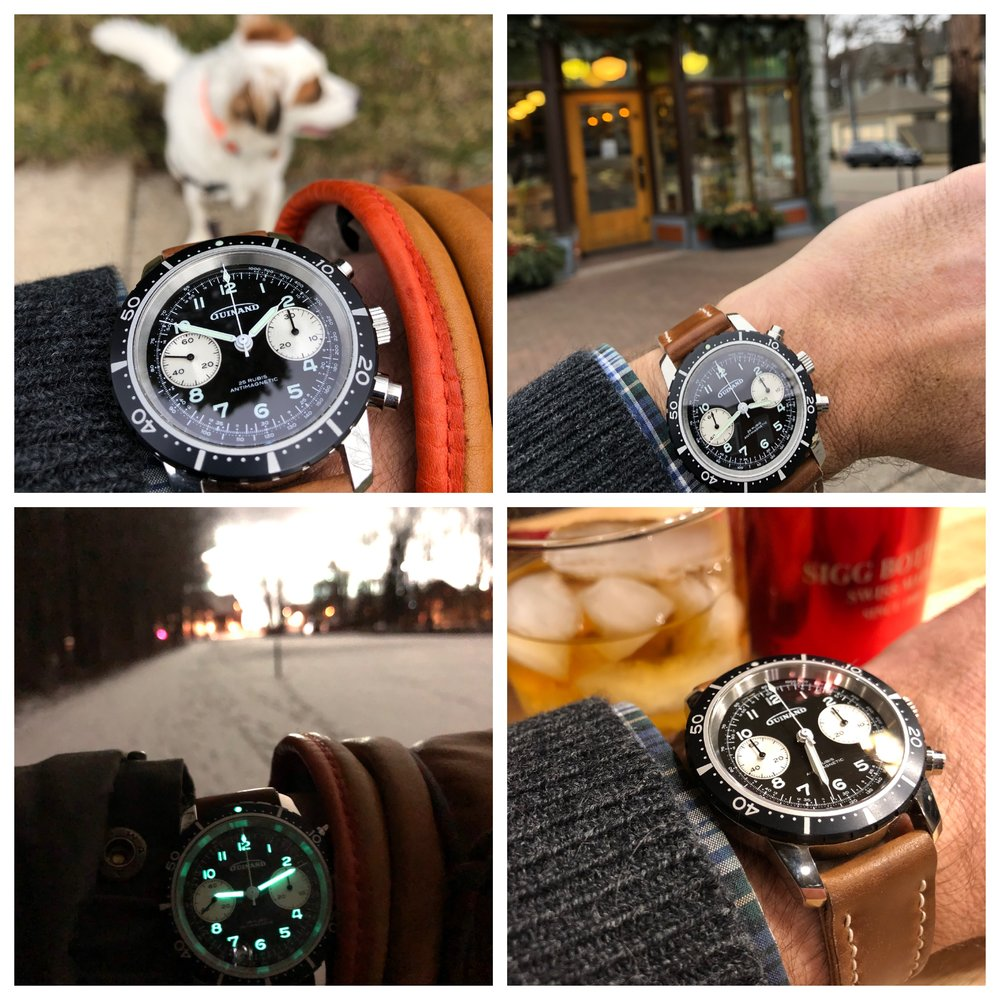 A day in the life of a watch, clockwise from upper left: walking to the Post Office to mail off some straps; a quick stop on the way out of town for some NYE essentials; arrival and relaxation; walking the dog at the foot of the mountain.