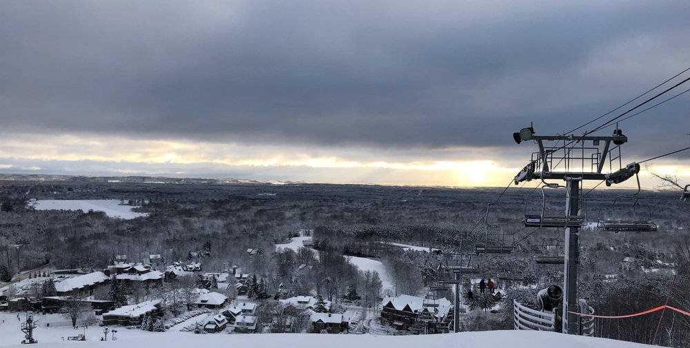 Sunrise from the top of the lift at Crystal Mountain.
