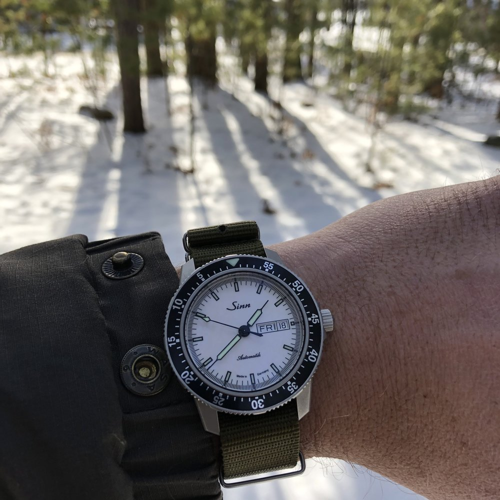 The Sinn 104 St Sa I W in a rather white setting. Perfect pairing.
