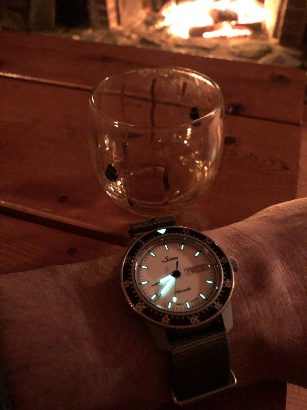 The 104 has strong lume. The clipped index at 3:00 makes it easy to orient yourself at night.