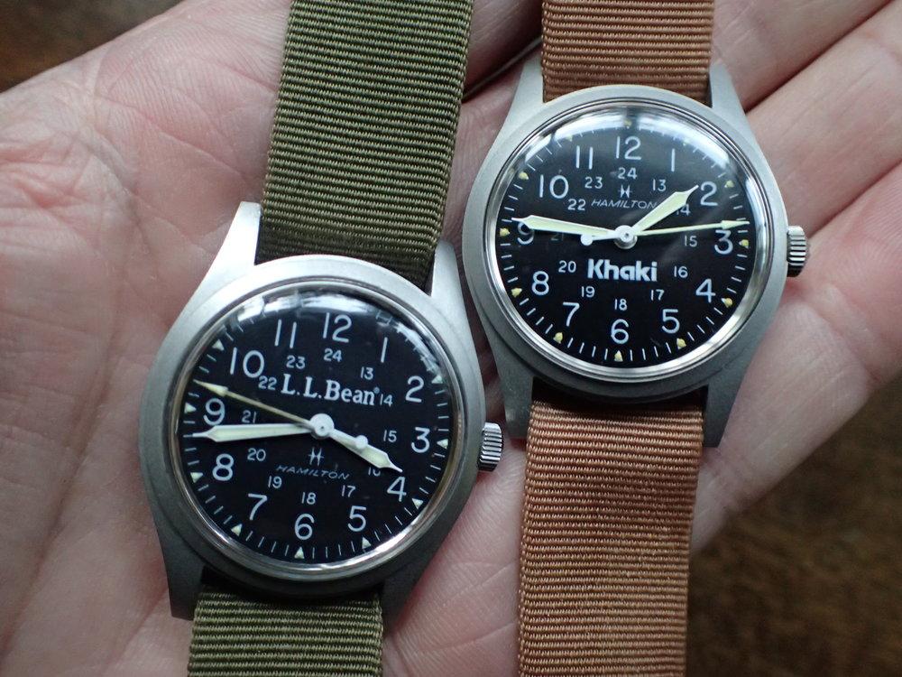The very common Hamilton 9219 in LL Bean and Big Khaki dial variants.