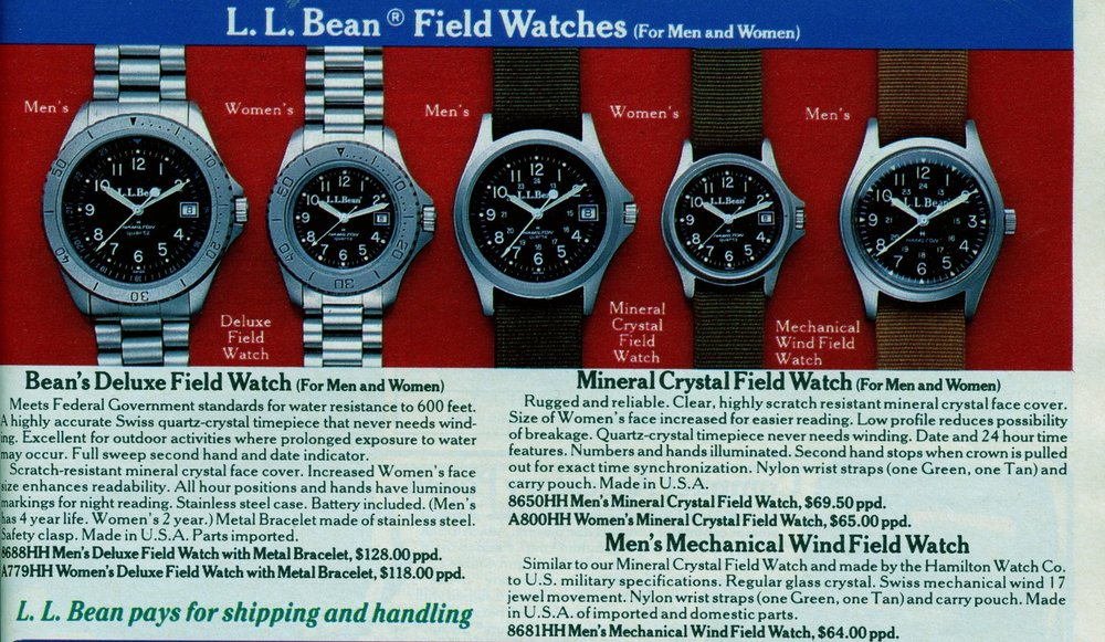 Late 1980's LL Bean catalog showing the shoulder-cased quartz-powered Field Watch overlapping with the soon-to-be-discontinued 33 mm round-cased mechanical Field Watch.