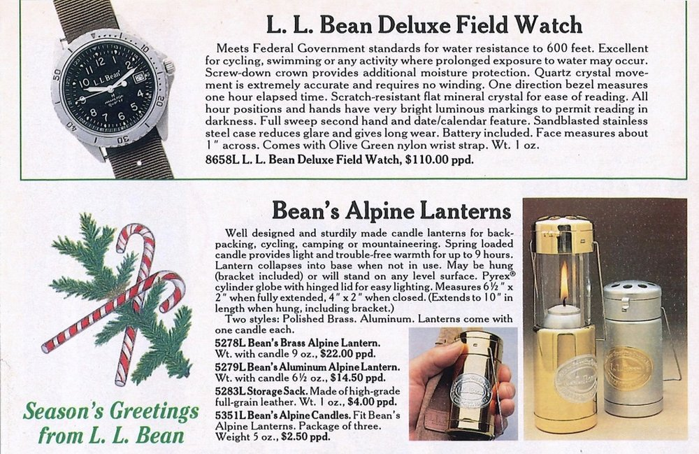 Early-1980's LL Bean Holiday catalog offerings. Note the Goldfinger-style web strap fitment on the Deluxe Field Watch.