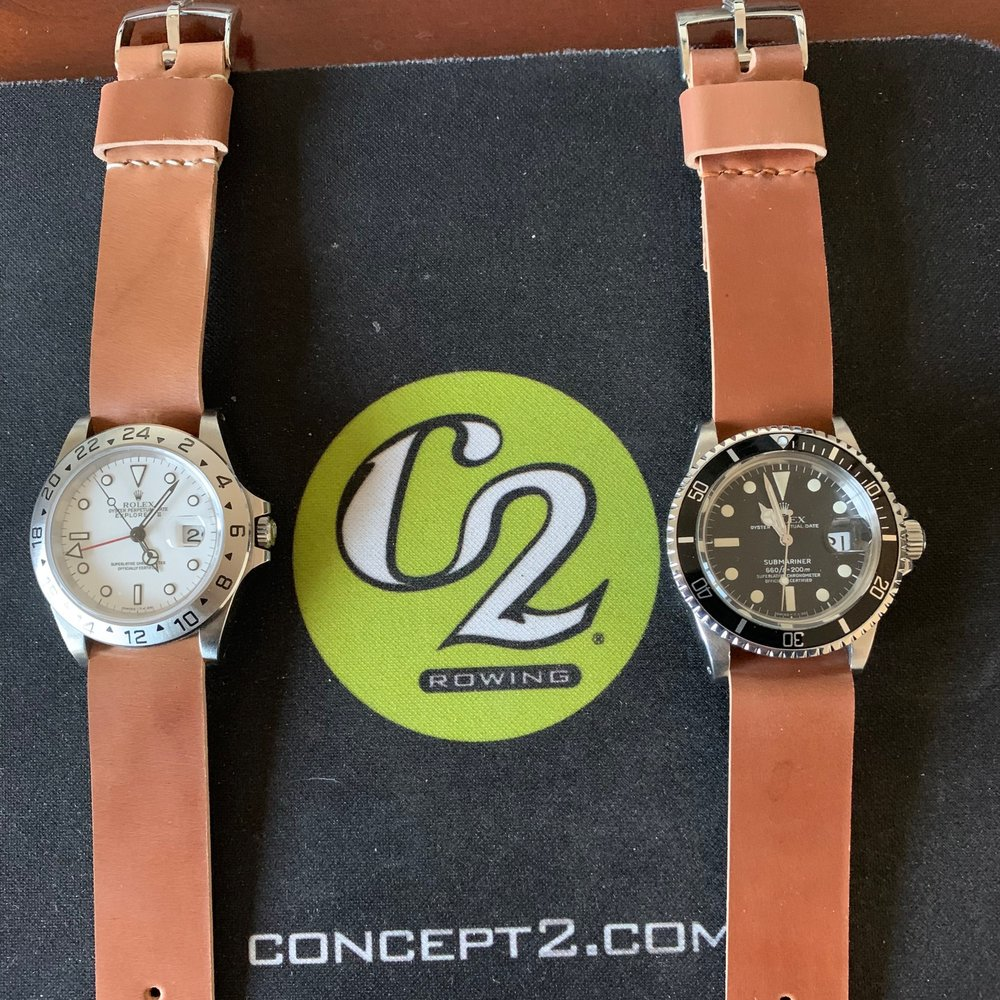 Amazing pair!  One-piece Natural straps for these very lovely Rolexes.