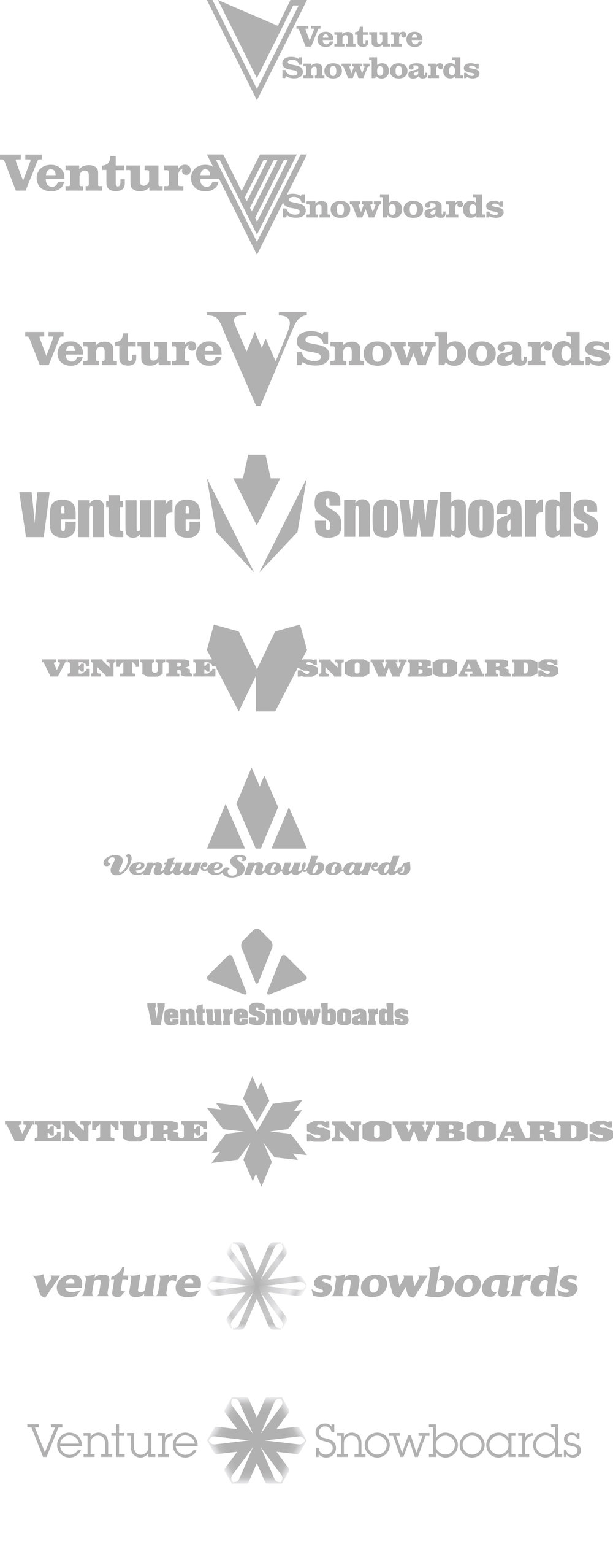 FEATURED WORK VENTURE SNOWBOARDS LOGO RESEARCH / DESIGN / DEVELOPMENT