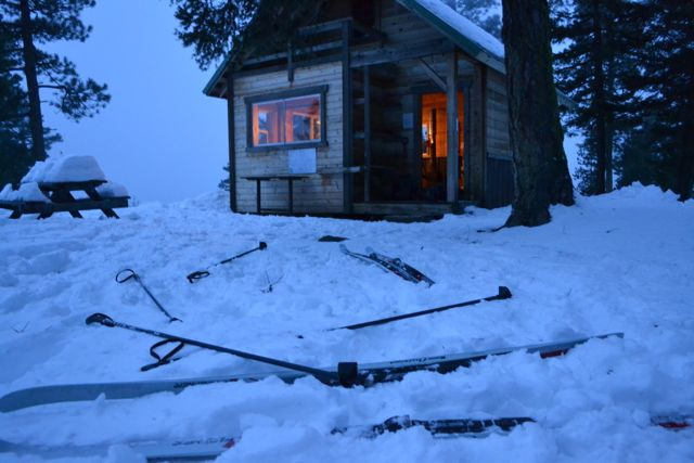 Backcountry Skiing Cabin – evening