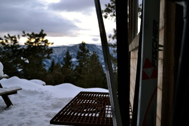 Backcountry Skiing Cabin - peeking out