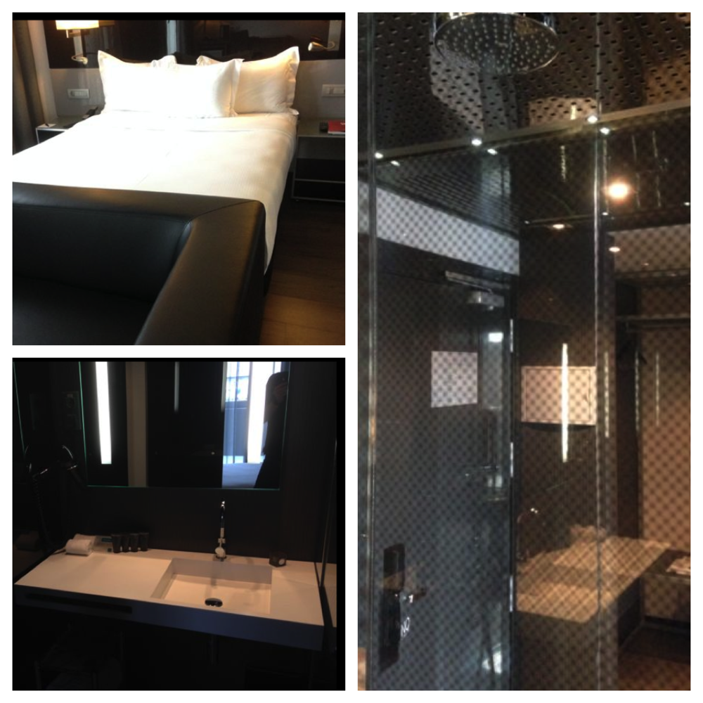 One of our comfy hotel rooms – complete with an odd, all glass shower.