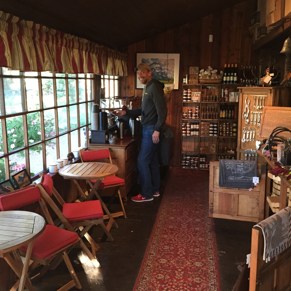 The main lodge was no less charming. Here's Kent in the lodge's quaint gift shop / coffee service area.