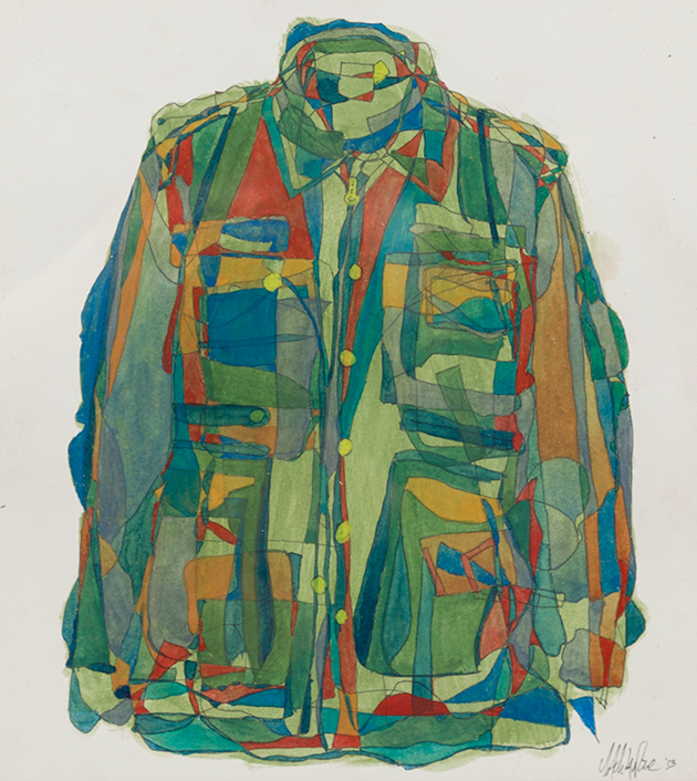 Gouache on paper. 2013 All the developed nation's military uniforms are drawn over each other.  Private Collection