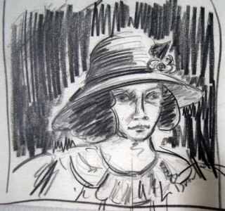 I didn't have any preliminary sketches for this painting. When looking through my drawings, I came across this sketch from years ago. It inspired me to paint a women in a big hat. After deciding on what I wanted to express, the image of butterflys came to mind. The woman in the painting just appeared in the beginning stages of painting.