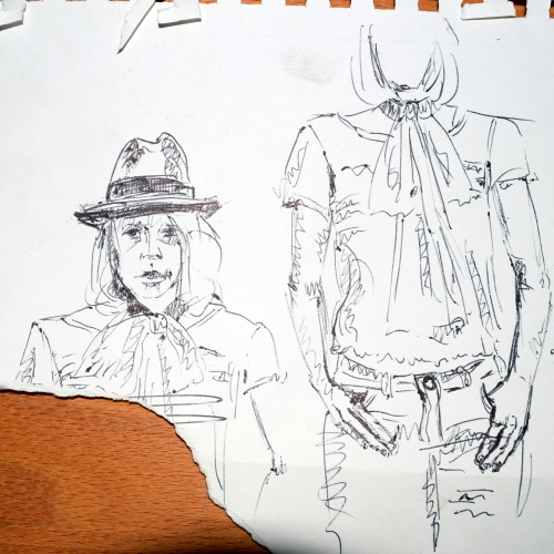 Small sketches in pen for The Old Man's Hat