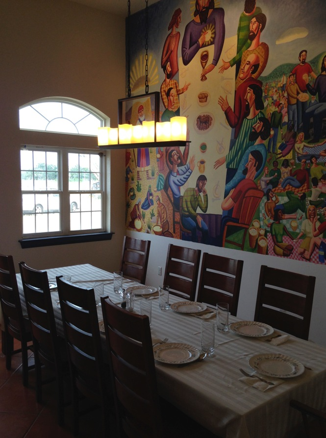 Dining Room with Jim Janknengt's  Bread of Life  mural