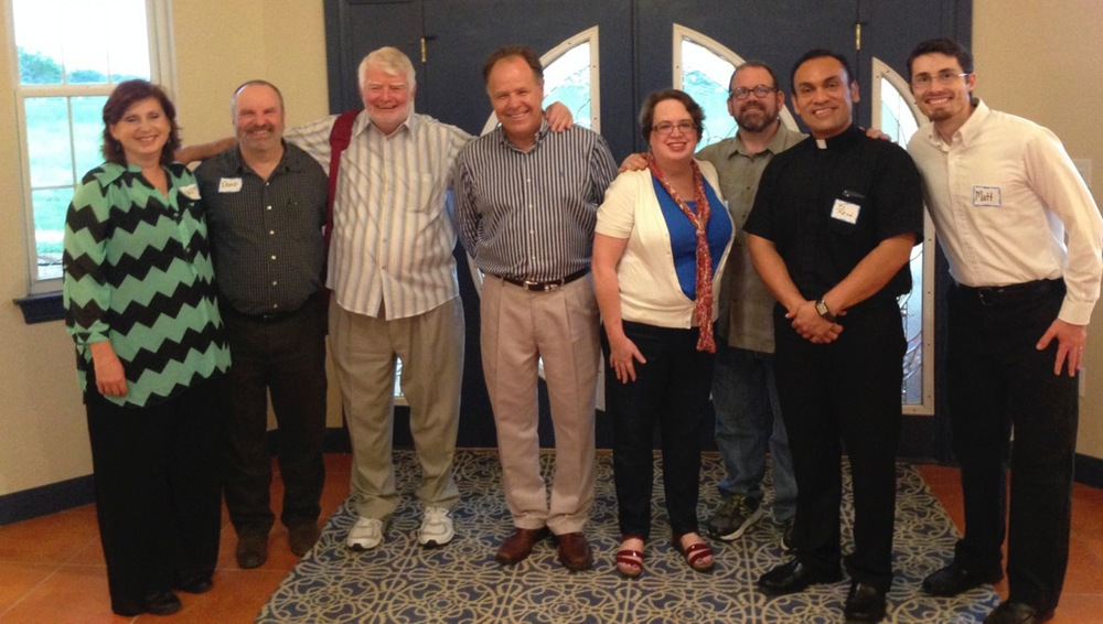 From left:  Candy & David Mills, Family Worship Center; Dan Davis, Pastors in Covenant; Jerry Edmon, Family Worship Center; Kay & Brett Hart, Hope Chapel; Fr. René Constanza, CSP, St. Austin's; Matt Ryniker, Hope Chapel.  Not pictured:  Joann Davis, who as usual was off praying with somebody!